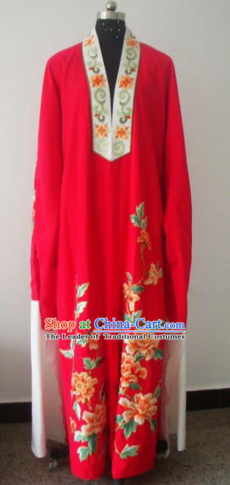 Chinese Traditional Beijing Opera Young Men Red Costumes China Peking Opera Niche Printing Peony Silk Robe for Adults