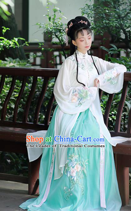 Traditional Chinese Ancient Ming Dynasty Nobility Lady Embroidered Costumes Hanfu Dress for Women