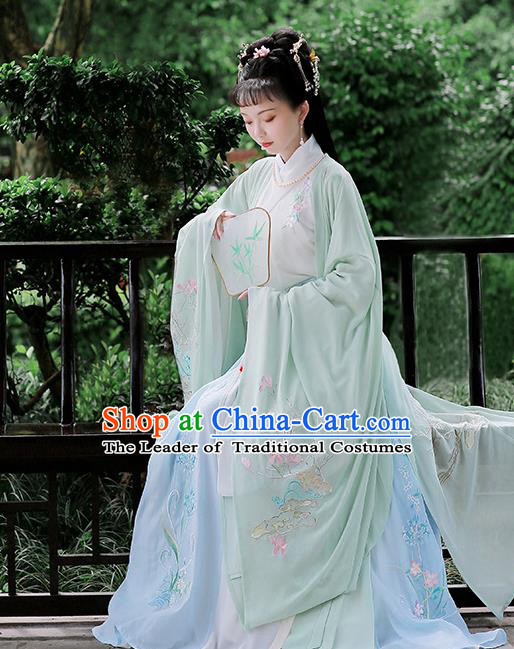 Chinese Ancient Jin Dynasty Imperial Concubine Hanfu Dress Embroidered Costumes Complete Set for Women
