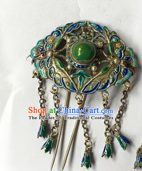 Chinese Traditional Ancient Blueing Tassel Hair Clip Hanfu Hairpins Hair Accessories for Women