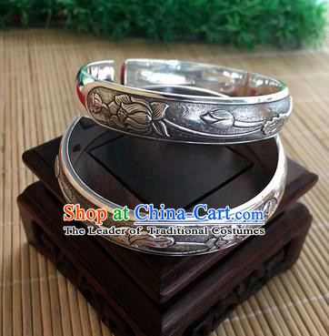 Handmade Chinese Miao Nationality Sliver Bracelet Traditional Hmong Carving Lotus Bangle for Women