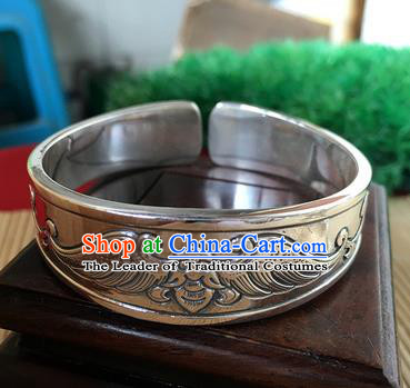 Handmade Chinese Miao Nationality Carving Bat Sliver Bracelet Traditional Hmong Bangle for Women