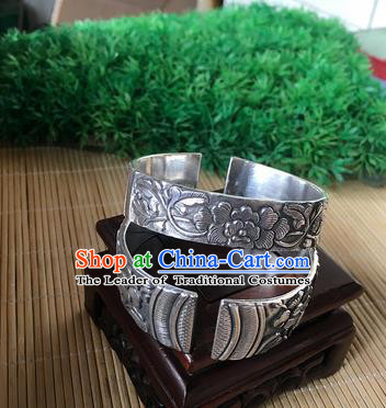 Handmade Chinese Miao Nationality Carving Peony Sliver Bracelet Traditional Hmong Bangle for Women