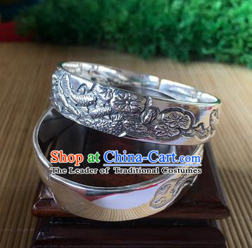 Handmade Chinese Miao Nationality Carving Lotus Leaf Sliver Bracelet Traditional Hmong Bangle for Women