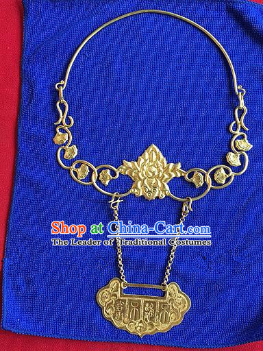 Handmade Chinese Miao Nationality Necklace Sliver Hmong Golden Hanfu Necklet for Women
