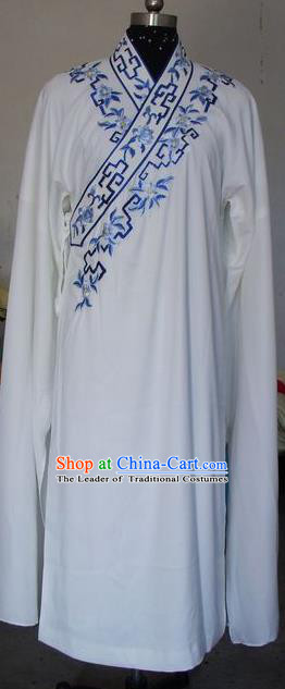 Chinese Traditional Shaoxing Opera Scholar Embroidered White Robe Peking Opera Niche Costumes for Adults