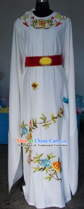 Chinese Traditional Shaoxing Opera Prince Embroidered Peony White Robe Peking Opera Niche Costumes for Adults