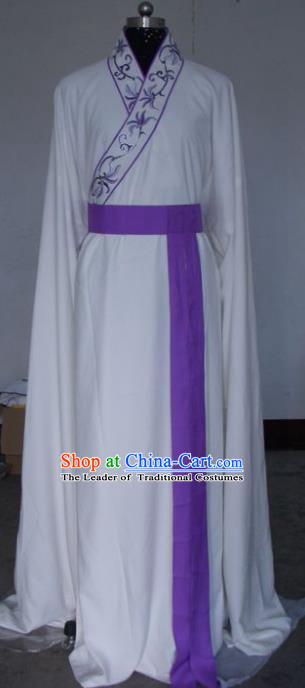 Chinese Traditional Beijing Opera Actress White Costumes China Peking Opera Embroidered Dress for Adults