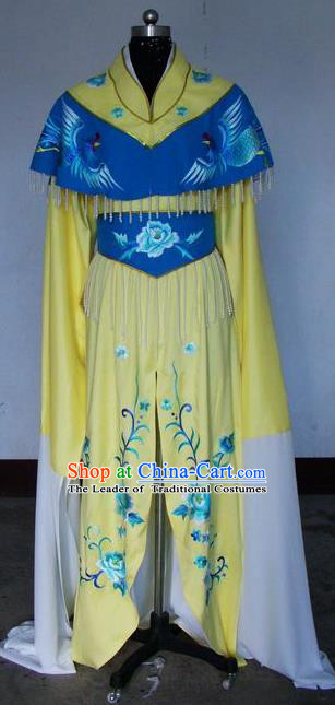 Chinese Traditional Beijing Opera Actress Yellow Costumes China Peking Opera Embroidered Dress for Adults