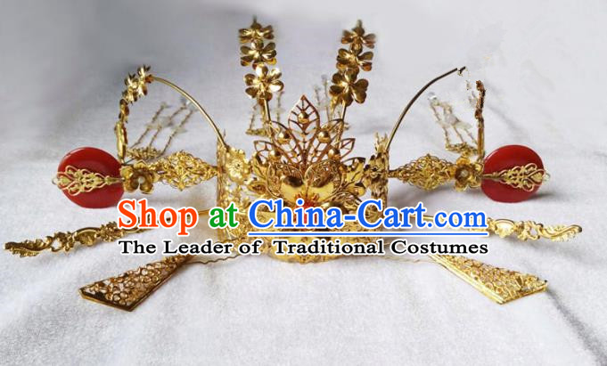 Chinese Traditional Hair Accessories Ancient Phoenix Coronet Hairpins Complete Set for Women