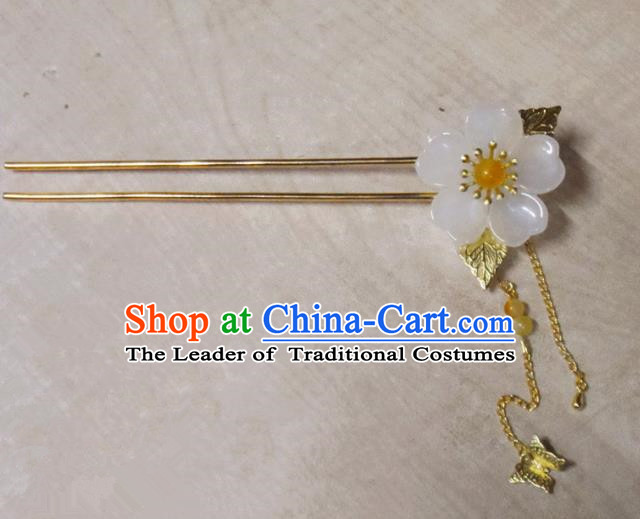 Chinese Traditional Hair Accessories Ancient Bride Hairpins White Flower Tassel Hair Clip for Women