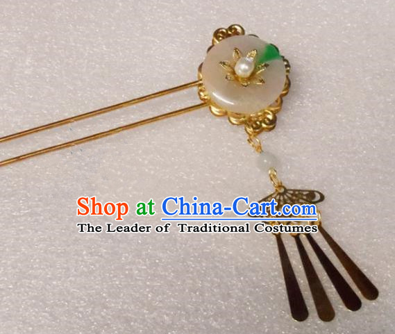 Chinese Traditional Hair Accessories Ancient Bride Hairpins Jade Hair Clip for Women