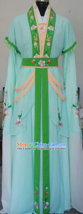 Chinese Traditional Beijing Opera Actress Green Dress China Peking Opera Princess Embroidered Costumes for Adults