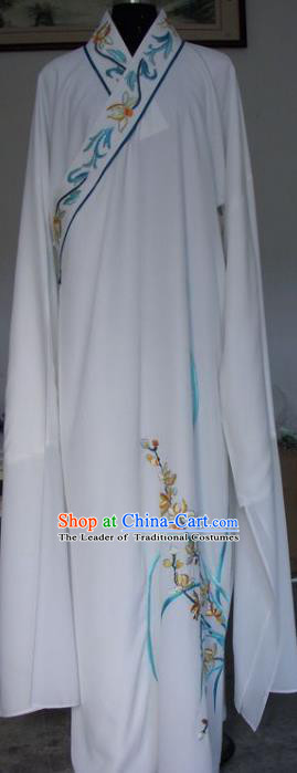 Chinese Traditional Shaoxing Opera Niche Embroidered Orchid White Robe Clothing Peking Opera Scholar Costume for Adults
