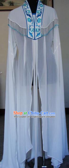 Chinese Traditional Beijing Opera Actress White Cape China Peking Opera Embroidered Lotus Costumes for Adults