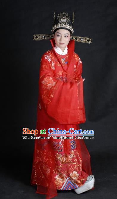 Chinese Traditional Shaoxing Opera Lang Scholar Robe Peking Opera Niche Embroidered Red Costume for Adults