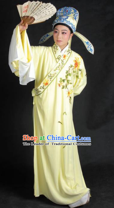 Chinese Traditional Shaoxing Opera Embroidered Yellow Robe Peking Opera Niche Costume for Adults