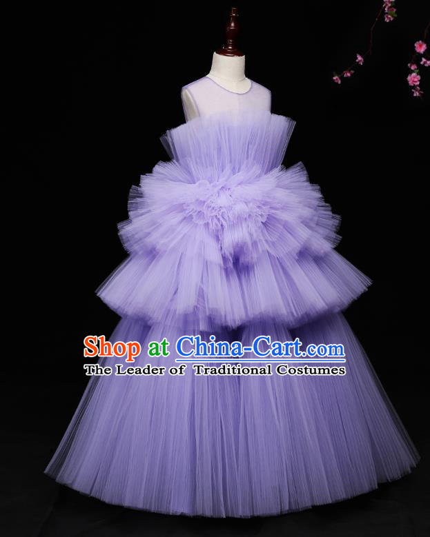 Children Modern Dance Costume Compere Full Dress Stage Piano Performance Purple Veil Bubble Dress for Kids