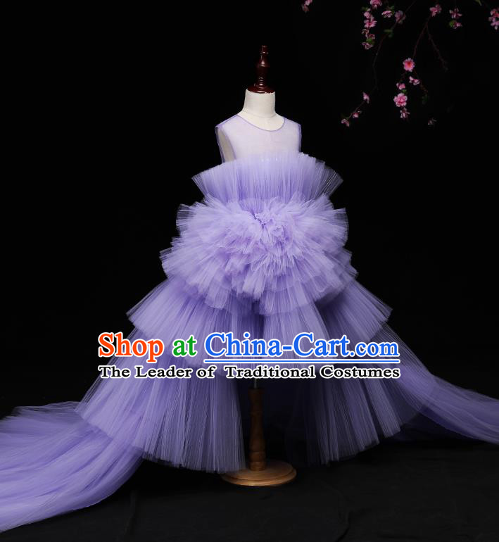 Children Modern Dance Costume Compere Full Dress Stage Piano Performance Purple Veil Trailing Dress for Kids