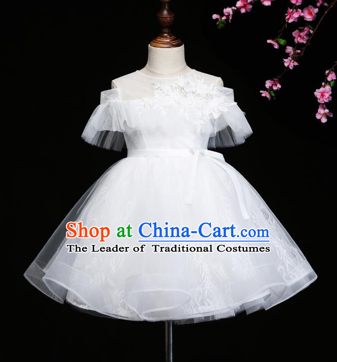 Children Modern Dance Costume Compere White Bubble Full Dress Stage Piano Performance Dress for Kids