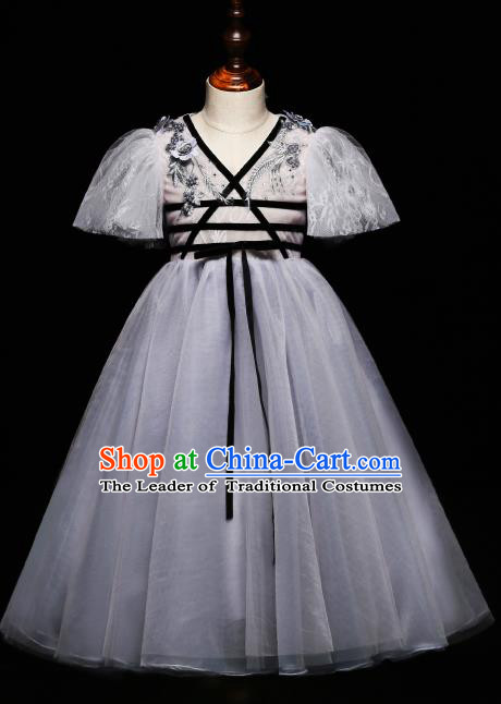 Children Modern Dance Costume Compere Grey Full Dress Stage Piano Performance Princess Dress for Kids