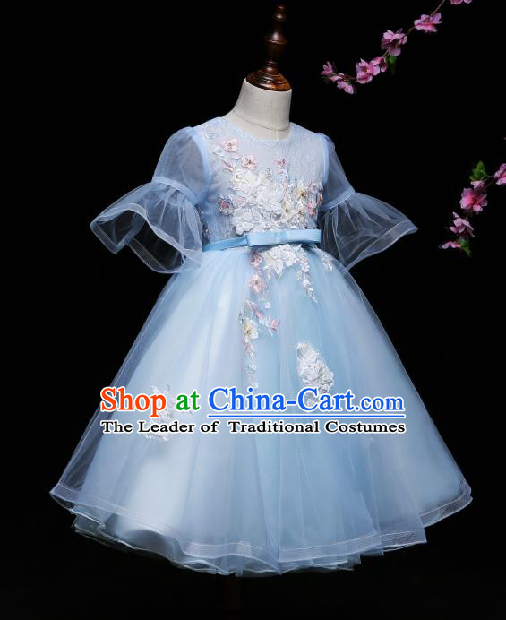 Children Modern Dance Costume Compere Blue Veil Full Dress Stage Piano Performance Princess Dress for Kids