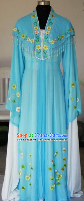 Chinese Traditional Beijing Opera Princess Embroidered Blue Dress China Peking Opera Diva Costumes for Adults