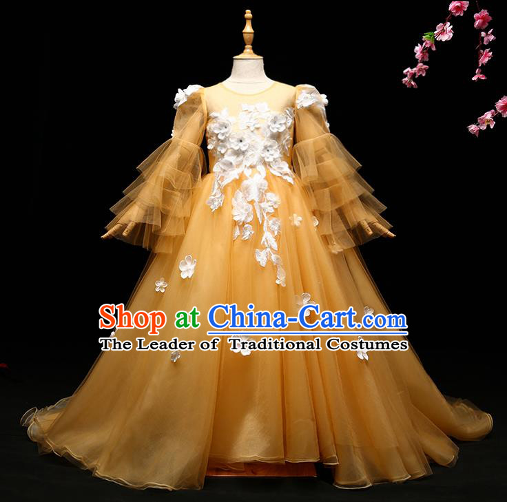 Children Modern Dance Costume Compere Full Dress Stage Piano Performance Princess Yellow Trailing Dress for Kids