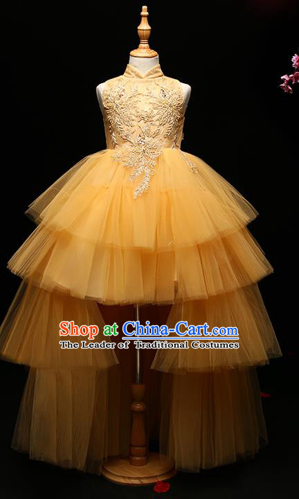 Children Modern Dance Costume Compere Full Dress Stage Performance Chorus Yellow Veil Trailing Dress for Kids
