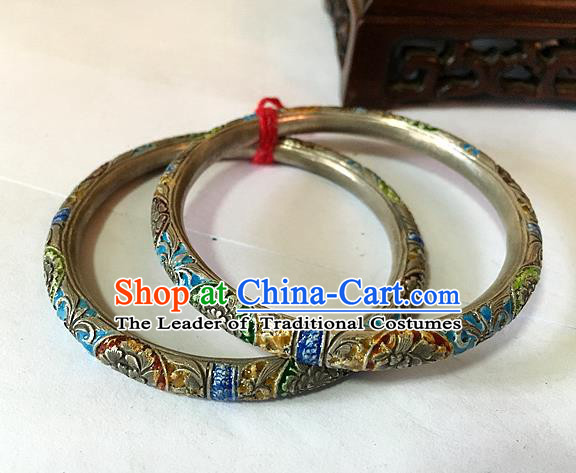 Handmade Chinese Miao Nationality Blueing Sliver Bracelet Traditional Hmong Bangle for Women