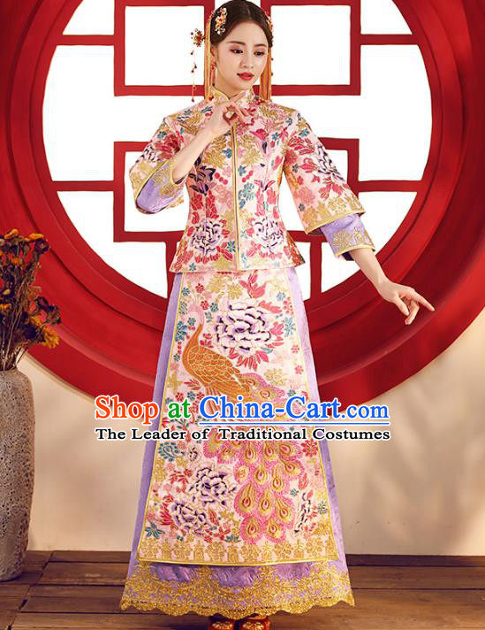 Top Grade Chinese Traditional Wedding Costumes Embroidered Purple Xiuhe Suits Bride Toast Dress for Women