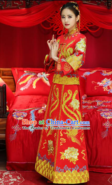 Top Grade Chinese Traditional Wedding Costumes Bride Embroidered Phoenix Peony Xiuhe Suits for Women