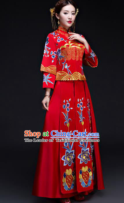Chinese Traditional Wedding Costumes Longfeng Flown Bride Embroidered Flowers Red Xiuhe Suits for Women