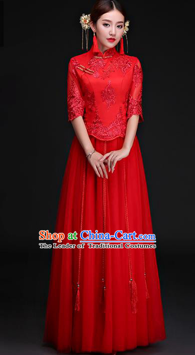 Chinese Traditional Wedding Costumes Longfeng Flown Bride Embroidered Lace Xiuhe Suits for Women
