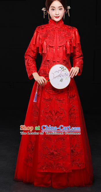 Chinese Traditional Wedding Costumes Ancient Bride Xiuhe Suits Embroidered Dress for Women
