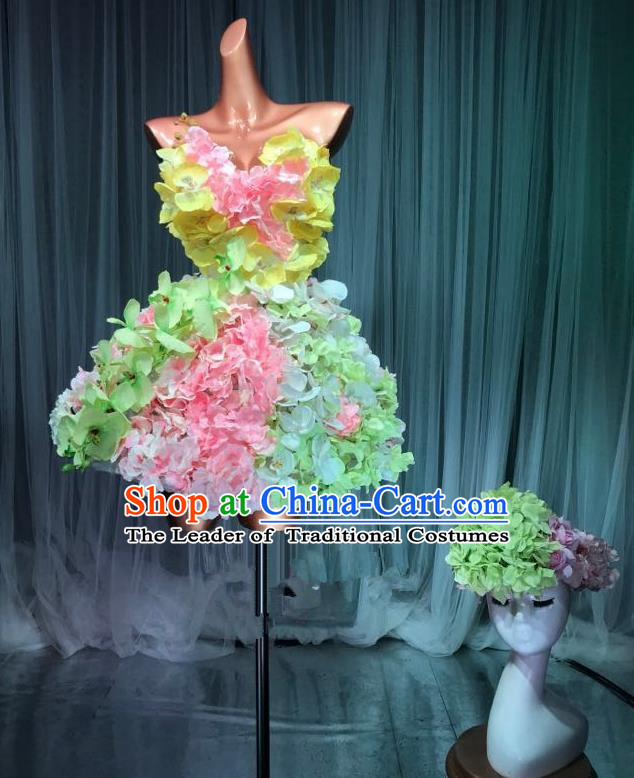 Top Grade Stage Performance Dance Costume Models Catwalks Flowers Fairy Dress and Headwear for Women