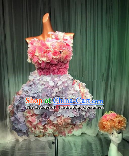 Top Grade Stage Performance Costume Models Catwalks Lilac Flowers Fairy Dance Dress and Headwear for Women