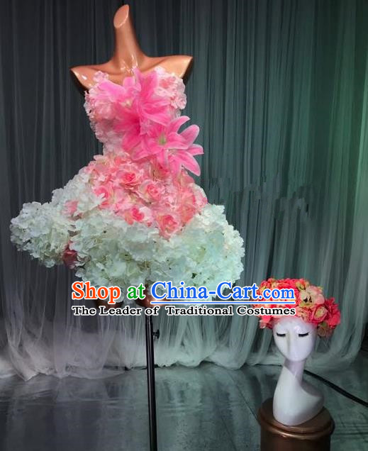 Top Grade Stage Performance Costume Models Catwalks Flowers Fairy Dance Dress and Headwear for Women