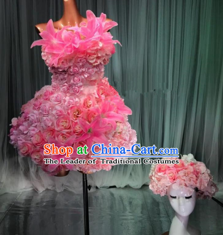 Top Grade Stage Performance Costume Models Catwalks Pink Flowers Fairy Dance Dress and Headwear for Women
