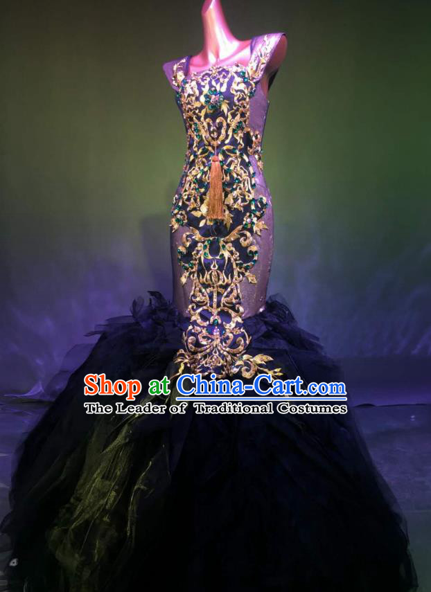 Top Grade Stage Performance Compere Costume Models Catwalks Black Veil Mermaid Full Dress for Women