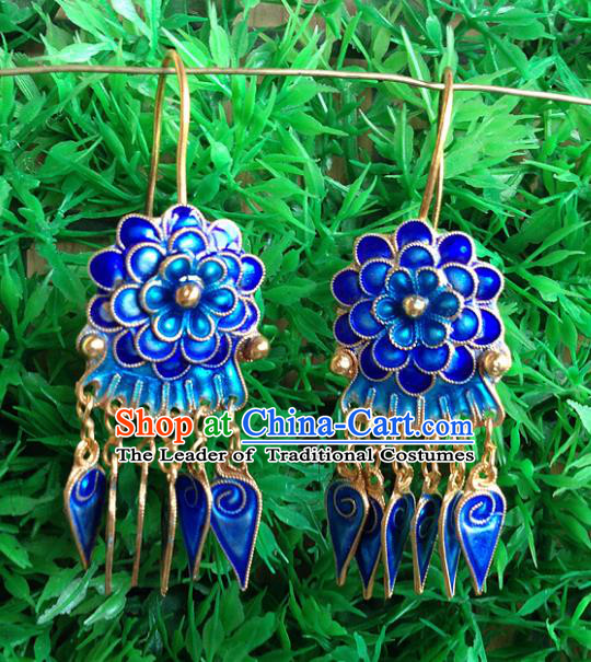 Handmade Chinese Miao Nationality Blueing Flowers Tassel Earrings Hmong Sliver Eardrop for Women