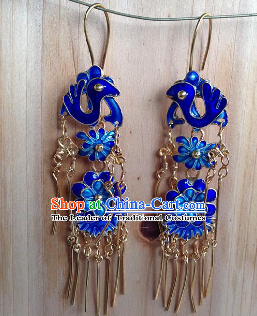 Handmade Chinese Miao Nationality Blueing Phoenix Tassel Earrings Hmong Sliver Eardrop for Women