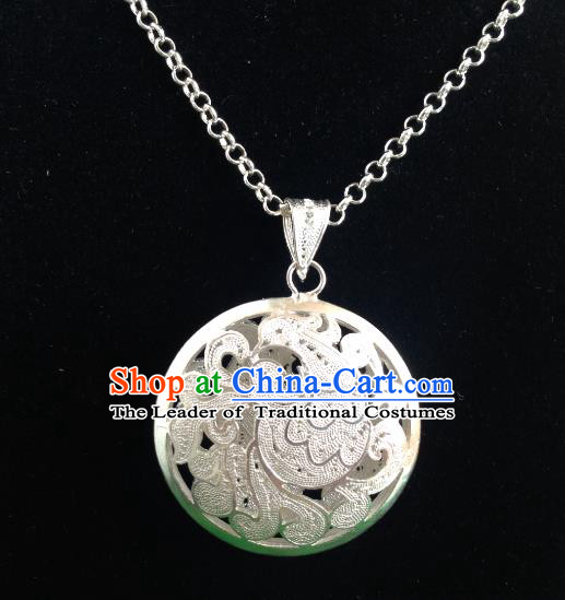 Handmade Chinese Miao Nationality Carving Sliver Necklace Hmong Necklet for Women