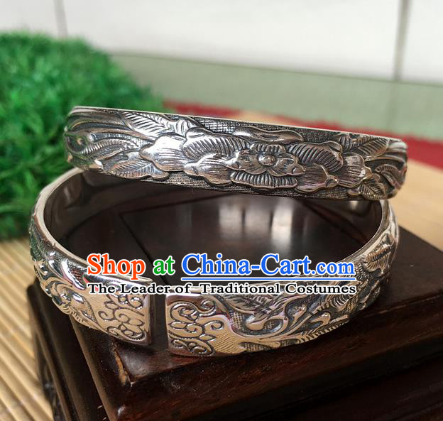 Handmade Chinese Miao Nationality Craft Carving Lotus Sliver Bracelet Traditional Hmong Bangle for Women