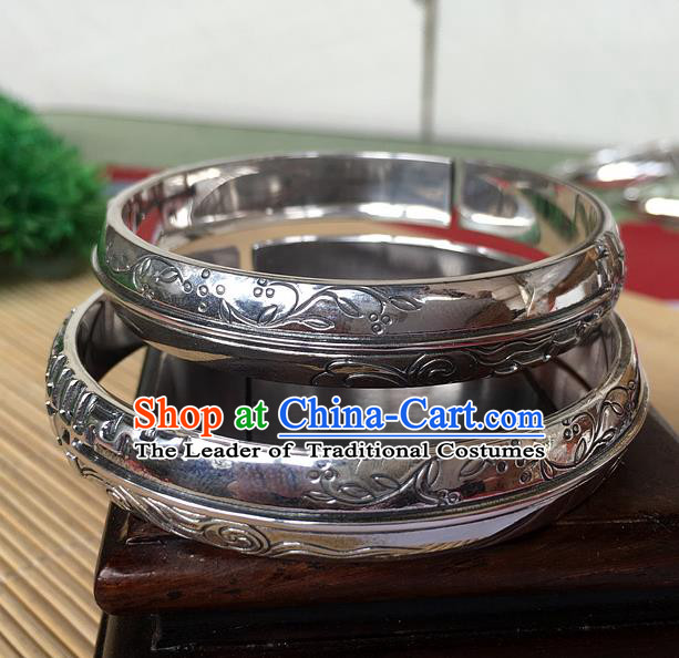 Handmade Chinese Miao Nationality Craft Carving Orchid Sliver Bracelet Traditional Hmong Bangle for Women