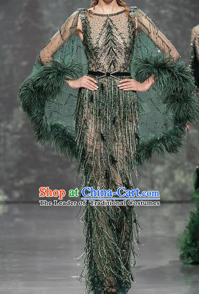 Top Grade Stage Performance Dance Costume Models Stalkshow Customized Green Full Dress for Women