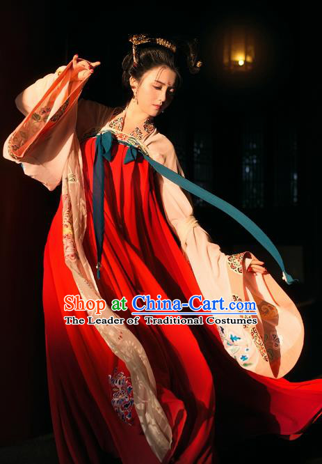 Chinese Tang Dynasty Palace Princess Hanfu Dress Ancient Peri Embroidered Costume for Women
