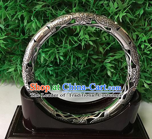 Handmade Chinese Miao Nationality Sliver Bracelet Traditional Hmong Carving Fishes Bangle for Women