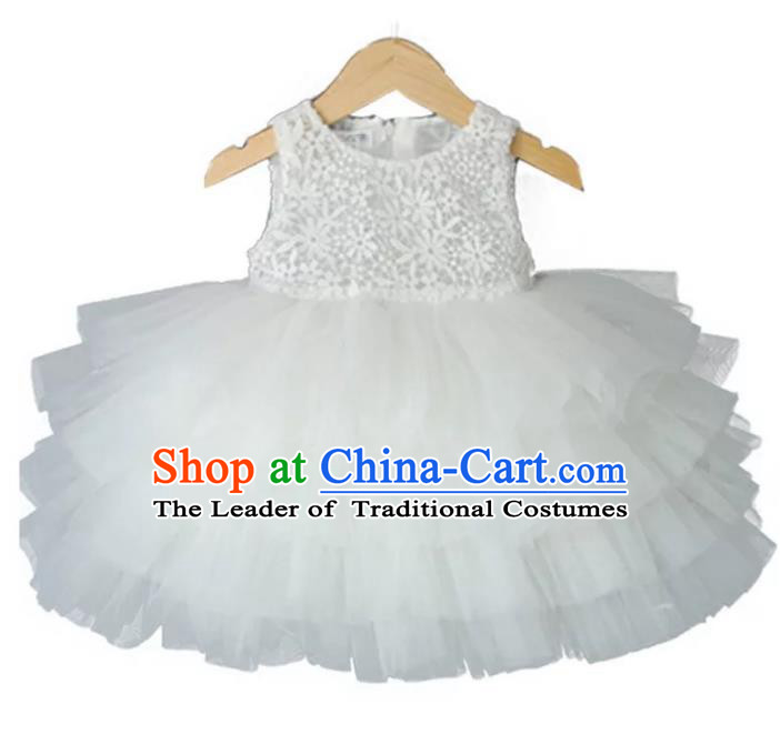Children Models Show Costume Stage Performance Modern Dance White Bubble Dress for Kids