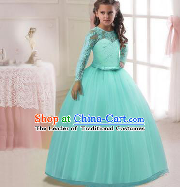 Children Models Show Costume Stage Performance Modern Dance Compere Green Lace Veil Dress for Kids